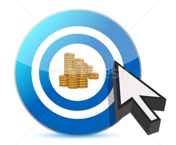 Blu target dollaro monete illustrazione Foto d'archivio © alexmillos