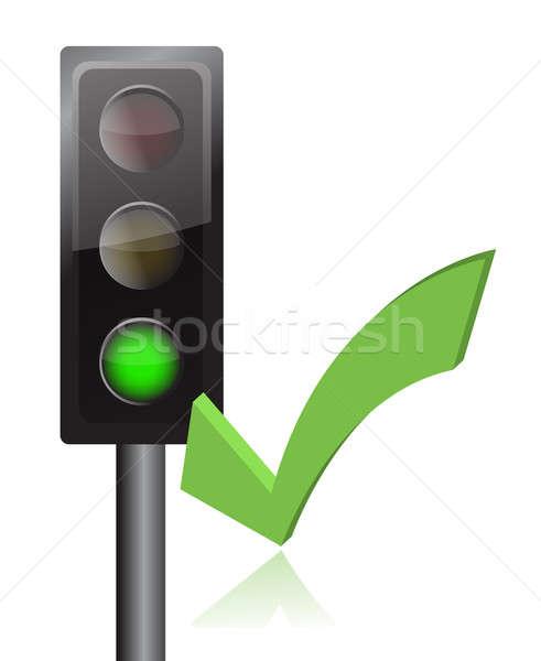 traffic light and checkmark illustration design over white Stock photo © alexmillos