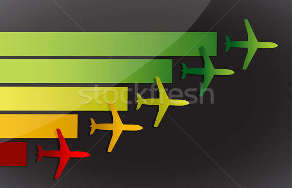 Airplanes fling to the same destination over a dark background Stock photo © alexmillos