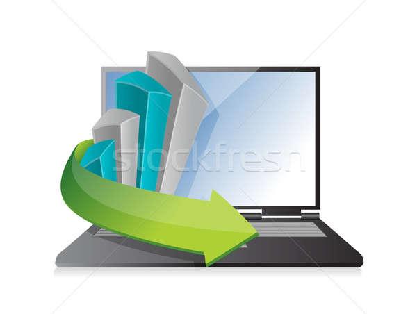 Grafico di affari laptop illustrazione design bianco computer Foto d'archivio © alexmillos
