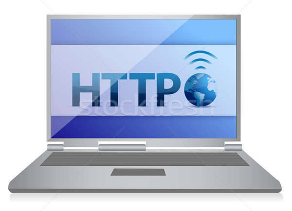 http laptop internet concept illustration design over white Stock photo © alexmillos
