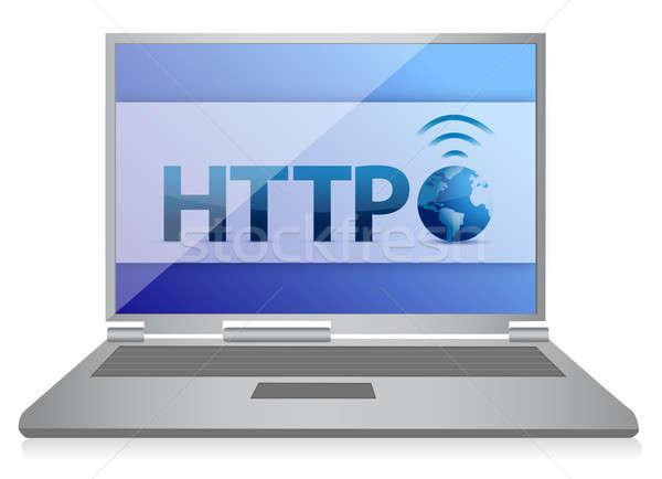 Http portátil Internet ilustración diseno blanco Foto stock © alexmillos