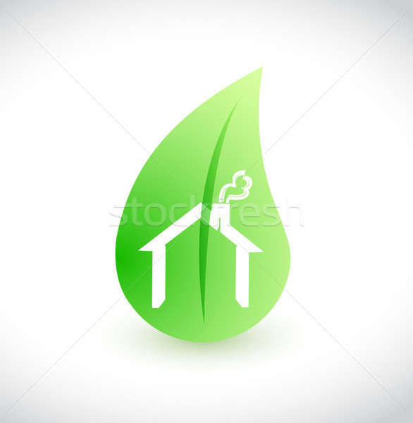 House green leaf ecological illustration design over white Stock photo © alexmillos
