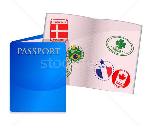 Nyitva elnyűtt útlevél illusztráció terv fehér Stock fotó © alexmillos