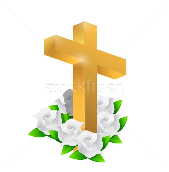 Beautiful gold cross and roses illustration design over white Stock photo © alexmillos