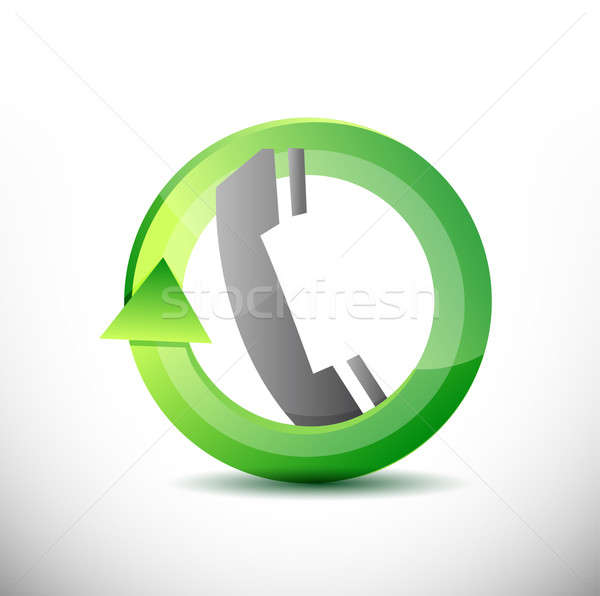 Teléfono comunicación diseno ilustración blanco naranja Foto stock © alexmillos