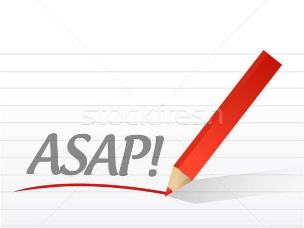 Asap written on a white paper Stock photo © alexmillos