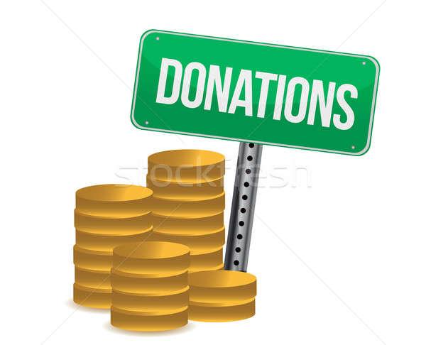 Munten donaties teken illustratie ontwerp home Stockfoto © alexmillos