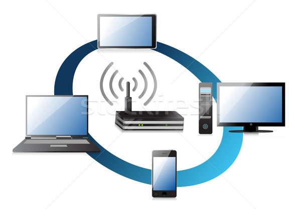 Foto stock: Casa · wi-fi · rede · laptop · servidor · grupo