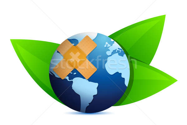 Eco globe and leaves with band aid illustration design over whit Stock photo © alexmillos