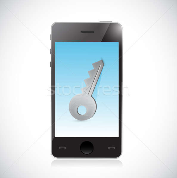 Smartphone kluczowych prywatność ilustracja odizolowany biały Zdjęcia stock © alexmillos