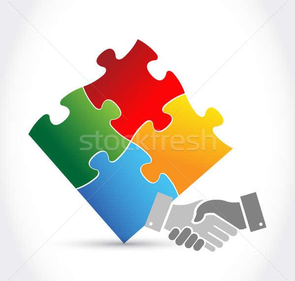 Bilmece el sıkışma birlik örnek dizayn yalıtılmış Stok fotoğraf © alexmillos