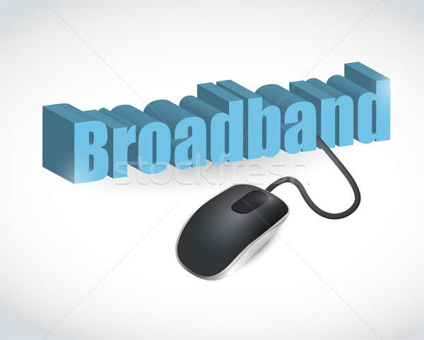 broadband text sign and mouse illustration Stock photo © alexmillos