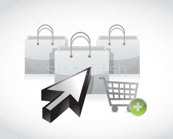 Stock fotó: Vásárlás · illusztráció · terv · fehér · üzlet · számítógép