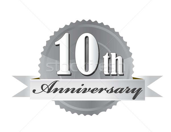 10th anniversary seal illustration design on white Stock photo © alexmillos
