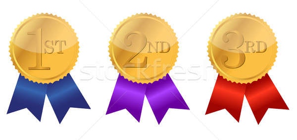 gold award ribbons with place numbers illustration design Stock photo © alexmillos