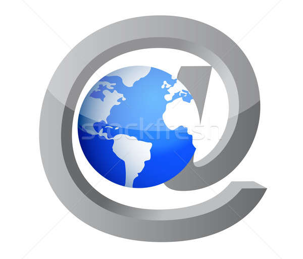 mail and Earth icon illustration design on white Stock photo © alexmillos