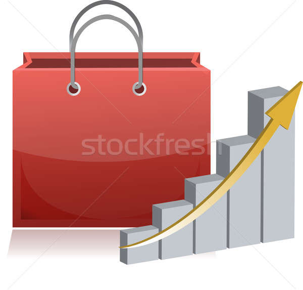shopping finance sign and chart illustration Stock photo © alexmillos