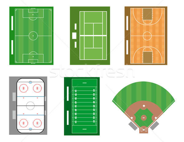 Set of sport fields and courts. Vector file also available. Stock photo © alexmillos