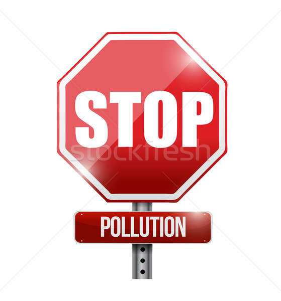 stop pollution road sign illustration design over a white backgr Stock photo © alexmillos