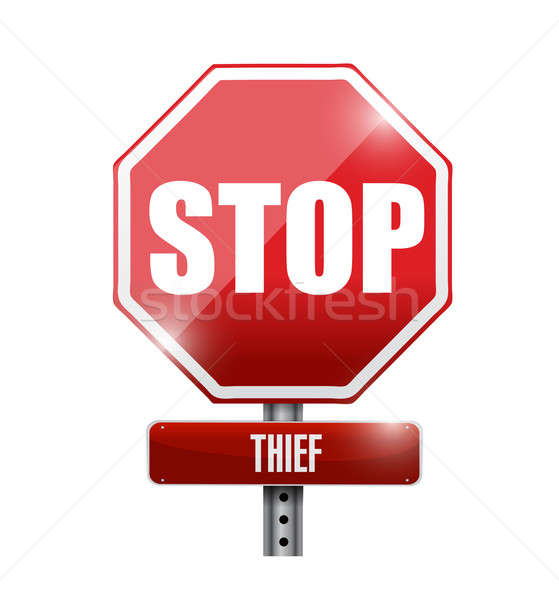 thief stop road sign illustration design over a white background Stock photo © alexmillos