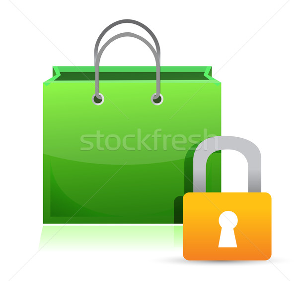 shopping card and lock illustration design over a white backgrou Stock photo © alexmillos