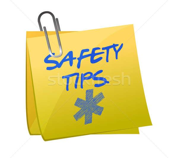 Biztonság tippek post it felirat illusztráció terv Stock fotó © alexmillos