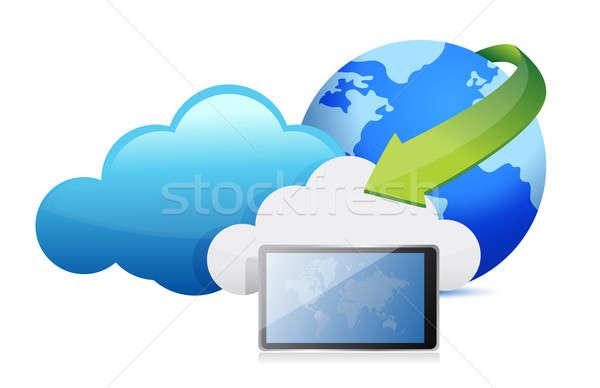 tablet cloud computing moving concept illustration design Stock photo © alexmillos