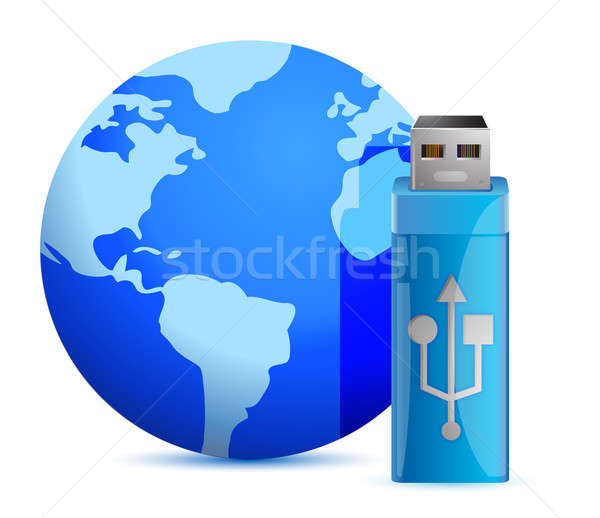 Usb flash memory and the globe illustration design Stock photo © alexmillos