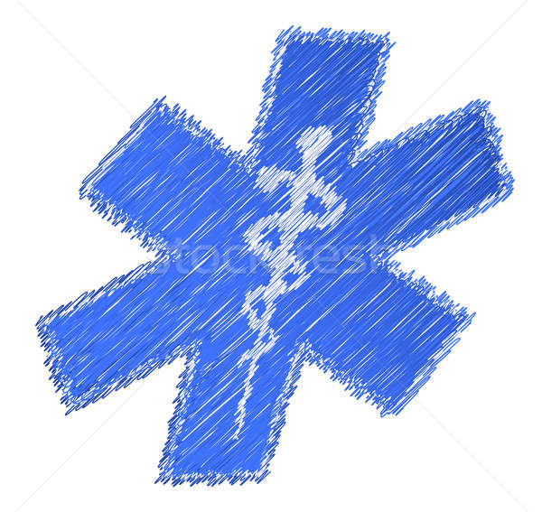scribble medical symbol illustration design over white backgroun Stock photo © alexmillos