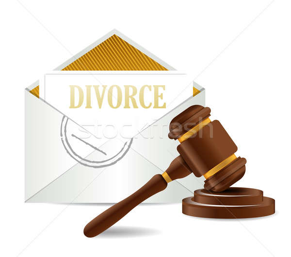 divorce decree document papers and gavel illustration design ove Stock photo © alexmillos