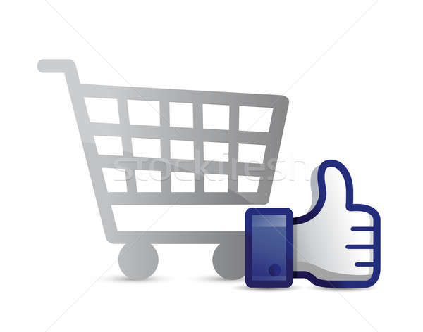 shopping cart thumb up illustration design over a white backgrou Stock photo © alexmillos
