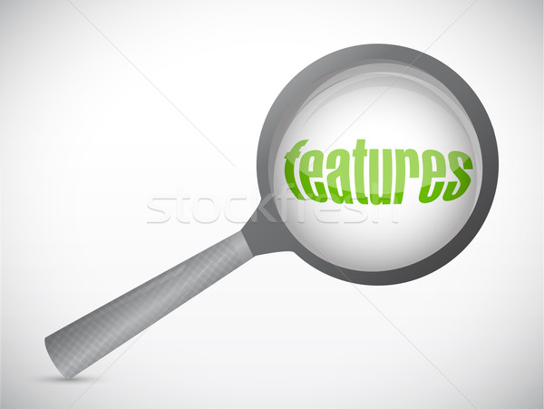 search for features concept illustration design over a white bac Stock photo © alexmillos