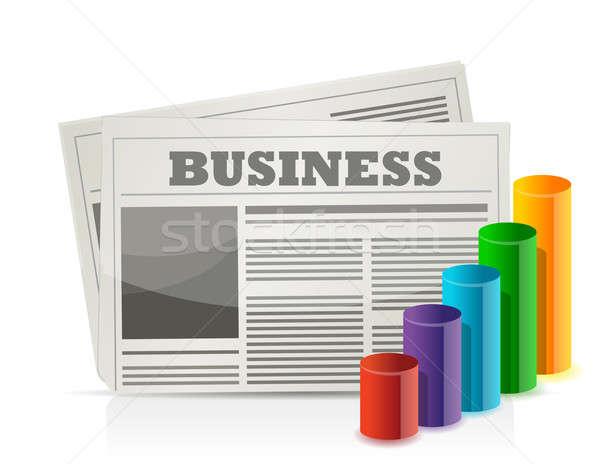 Foto stock: Negócio · jornal · gráfico · ilustração · projeto · branco