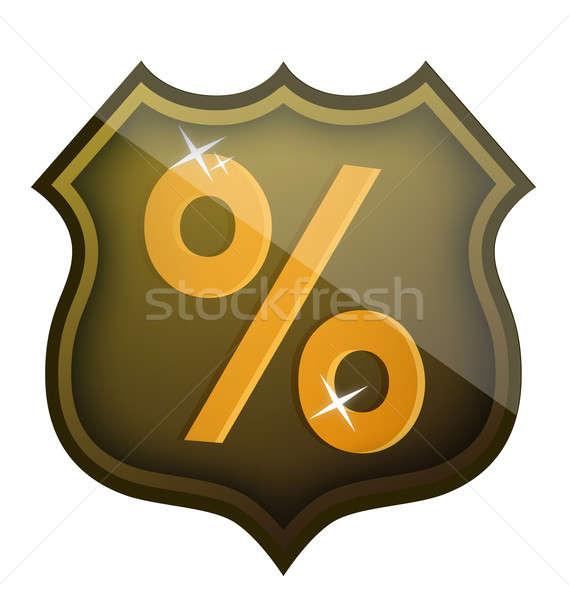 Сток-фото: скидка · процент · щит · иллюстрация · дизайна · белый