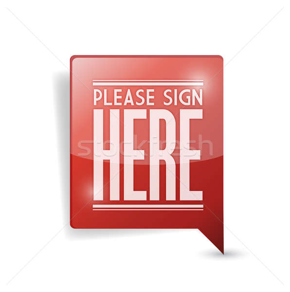 Stock photo: please sign here pin point marker illustration design