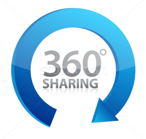 360 degrees Sharing concept illustration design over white Stock photo © alexmillos