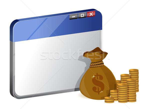 Navegador línea ordenador dinero Internet Foto stock © alexmillos