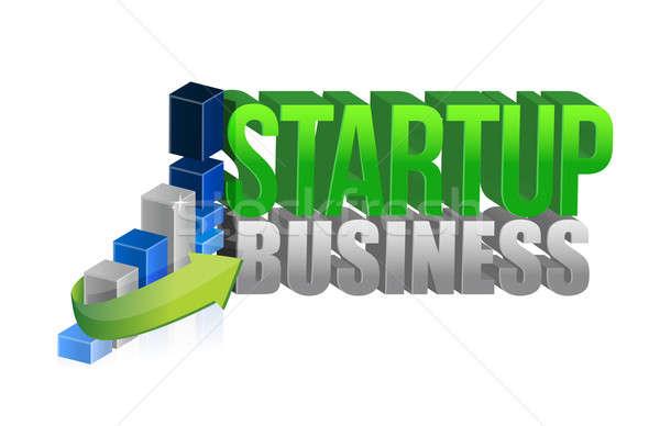 Startup zakelijke grafiek teken financieren corporate markt Stockfoto © alexmillos