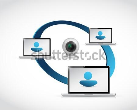 Computer. Add a Friend icon illustration Stock photo © alexmillos