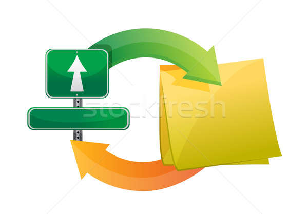 sign and post cycle illustration design over white Stock photo © alexmillos