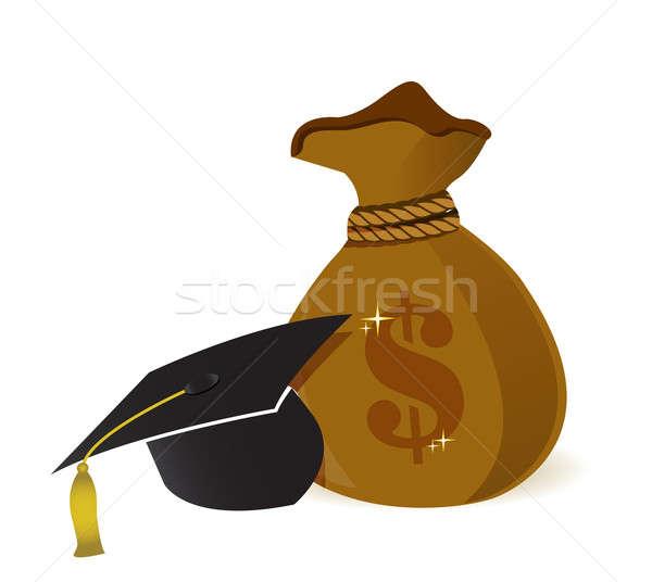 Soldi borse istruzione Hat segno banca Foto d'archivio © alexmillos