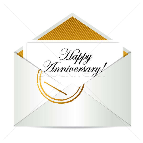 Happy Anniversary gold mail letter Stock photo © alexmillos