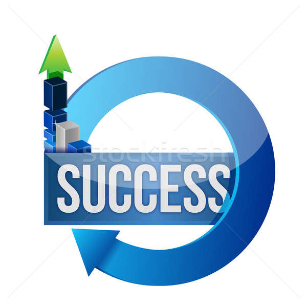 Success business blue cycle illustration design  Stock photo © alexmillos