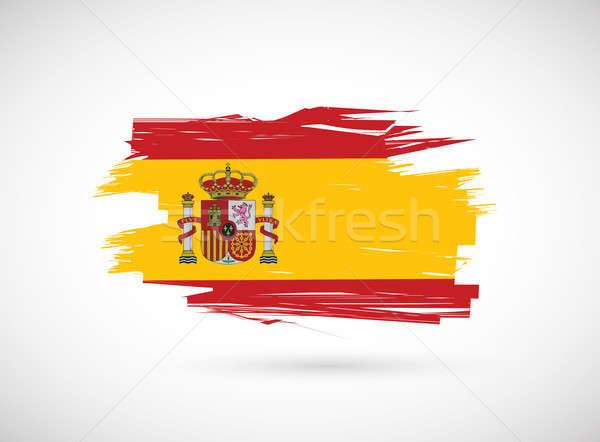 Foto d'archivio: Spagnolo · inchiostro · pennello · bandiera · illustrazione · design
