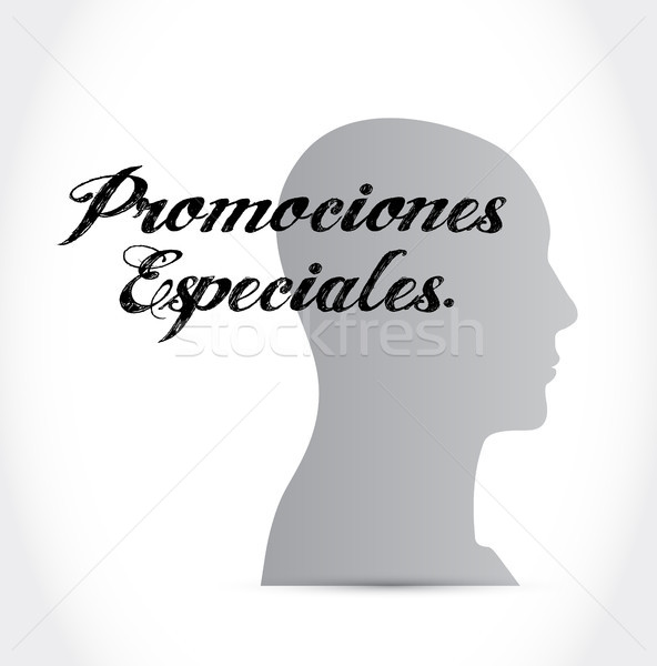Stock photo: special promotions in Spanish brain sign concept