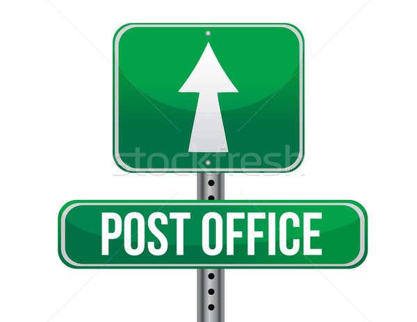 Bureau de poste panneau routier illustration design blanche route Photo stock © alexmillos