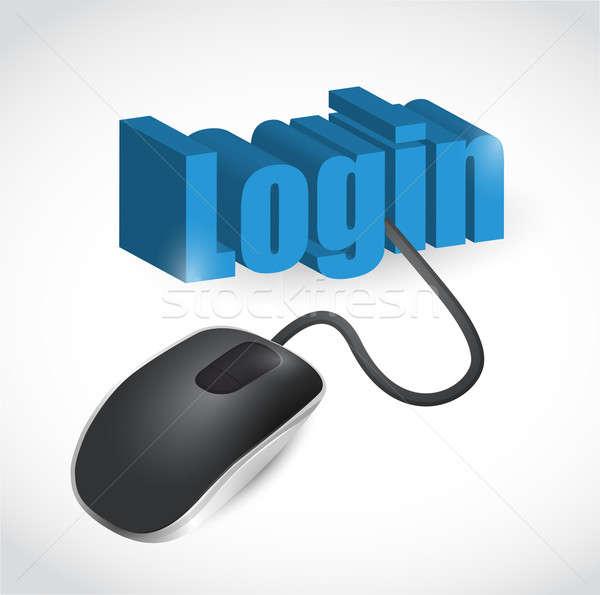 Login segno mouse illustrazione design bianco Foto d'archivio © alexmillos