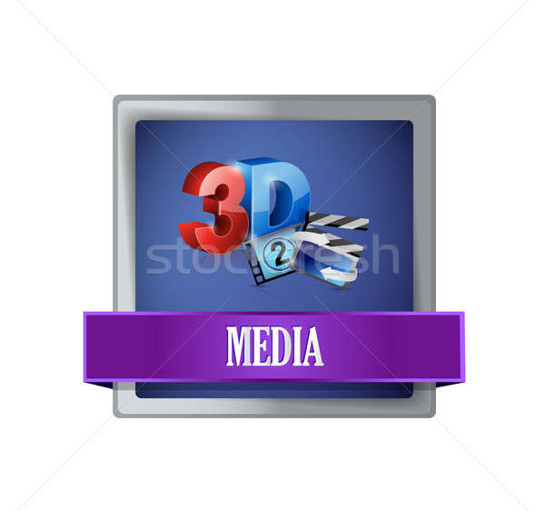 media square blue button illustration Stock photo © alexmillos