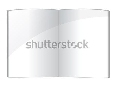 Blank magazine spread or note book pages design template over wh Stock photo © alexmillos